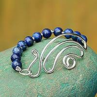 Lapis lazuli beaded bracelet, 'In Visions' - Collectible Sterling Silver Beaded Lapis Lazuli Bracelet