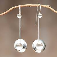 Sterling silver dangle earrings, 'Harmony in Circles' - Sterling silver dangle earrings