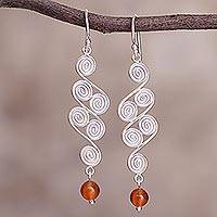 Carnelian dangle earrings, 'Spiral Paths' - Carnelian dangle earrings