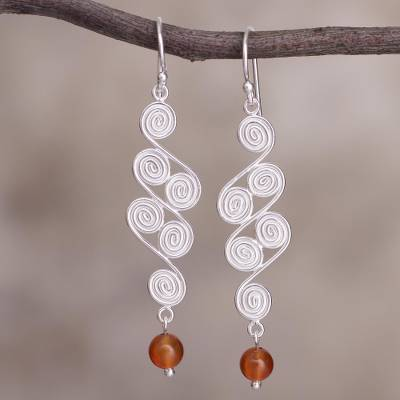 Carnelian dangle earrings, Spiral Paths