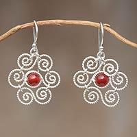Carnelian flower earrings,