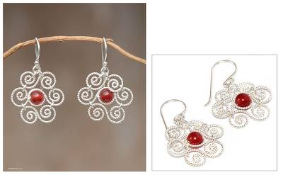 Carnelian flower earrings, 'Unity Blossoms' - Carnelian flower earrings