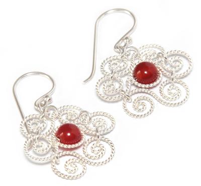 Carnelian flower earrings