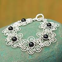 Obsidian flower bracelet,