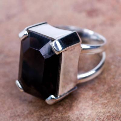 Sterling Silver Solitaire Smoky Quartz Ring from Peru
