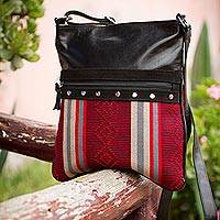 Leather accent cotton shoulder bag Obsession Peru