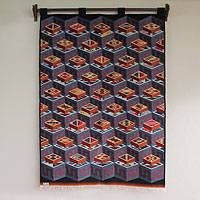 Wool tapestry, 'Inca Calendar Cubes'  - Hand Made Geometric Wool Tapestry Wall Hanging