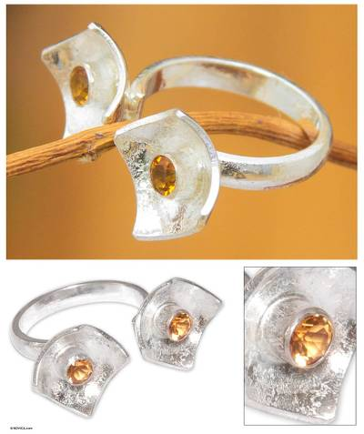 silver gemstone rings - Citrine wrap ring