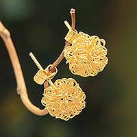 Gold vermeil button earrings, 'Flirt' - Fair Trade Modern Gold Vermeil Button Earrings from Peru