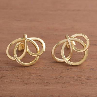 Gold plated button earrings, Amazon Knot
