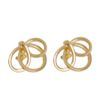 Modern 18K Gold Plated Button Earrings