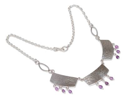 Sterling silver and amethyst pendant necklace