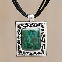 Chrysocolla pendant necklace, 'Worldview' - Leather Sterling Silver Pendant Chrysocolla Necklace