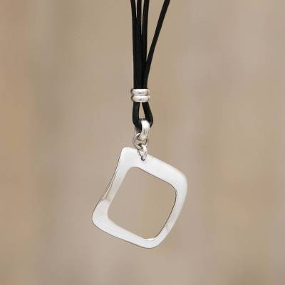 Sterling silver pendant necklace, 'Magical Minimalism' - Sterling silver pendant necklace