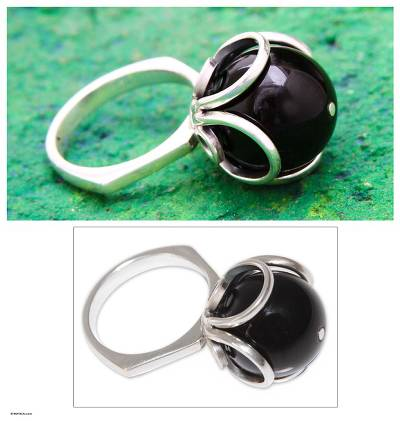 Obsidian flower ring, 'Center of the Universe' - Obsidian flower ring