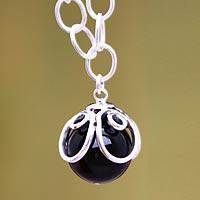Obsidian flower necklace, 'Center of the Universe' - Obsidian flower necklace