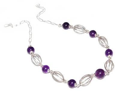 Handmade Amethyst And Sterling Silver Necklace