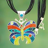 Inlaid gemstone pendant necklace, 'Butterfly Aesthetics' - Women's Sterling Silver Pendant Butterfly Necklace
