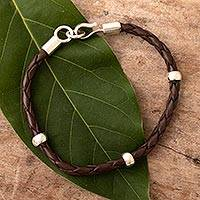 Men's leather and sterling silver bracelet, 'Fierce Chankas in Brown'