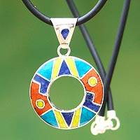 Inlaid gemstone pendant necklace, 'Inca Aesthetics' - Sterling Silver and Multigem Necklace