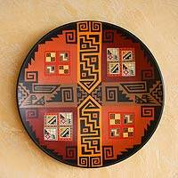 Cuzco plate, 'Inca Wisdom' - Collectible Cuzco Ceramic Decorative Plate from Per