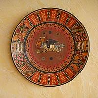 Cuzco decorative plate, 'Jaguar Condor' - Unique Cuzco Ceramic Decorative Plate from Peru