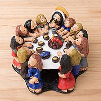 Ceramic sculpture, 'The Last Supper' - Ceramic Religious Sculpture