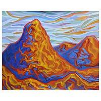 'Peaks at Sunset' - Original Landscape Acrylic Modern Painting