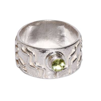 Sterling Silver and Peridot Band Ring