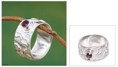 Modern Sterling Silver Single Stone Garnet Ring