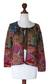 100% alpaca art knit cardigan sweater, 'Valley of the Flowers' - 100% Baby Alpaca Art Knit Cardigan Sweater (image 2d) thumbail