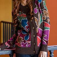 Featured review for 100% alpaca art knit cardigan sweater, Lady of the Flowers