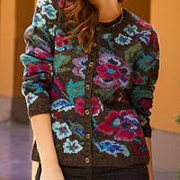100% alpaca art knit cardigan Geraniums (Peru)