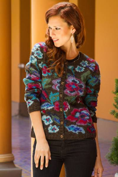 100% alpaca art knit cardigan, 'Geraniums' - Art Knit Cardigan from Peru