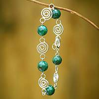 Chrysocolla link bracelet, 'Search for Hope' - Fine Silver Chrysocolla Link Bracelet