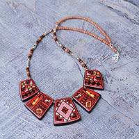 Ceramic pendant necklace, 'Red Inca Icons' - Ceramic pendant necklace