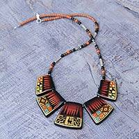 Ceramic beaded necklace, 'Sunset Llama' - Fair Trade Ceramic Beaded Necklace