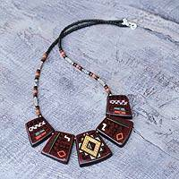 Ceramic beaded necklace, 'Colla Vineyard' - Ceramic beaded necklace