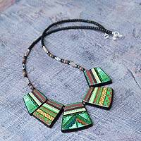 Ceramic beaded necklace, 'Inca Princess' - Handmade Jewelry Ceramic Pendant Necklace