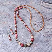 Ceramic beaded jewelry set, 'Rose Inca' - Ceramic beaded jewelry set
