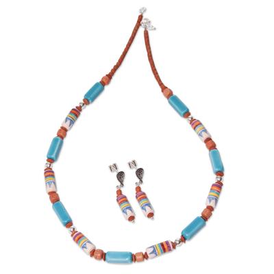 Artisan Crafted Ceramic Beaded Jewelry Set