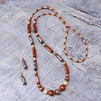 Ceramic beaded jewelry set, 'Brown Inca' - Ceramic beaded jewelry set
