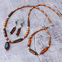 Ceramic and carnelian beaded jewelry set,