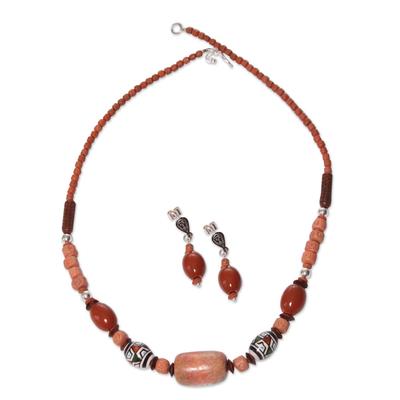 Handcrafted Ceramic Beaded Jasper Jewelry Set