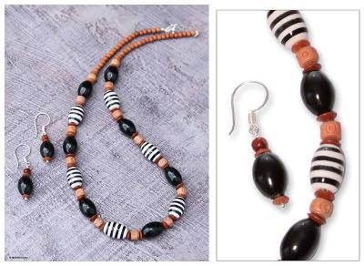 Ceramic beaded jewelry set, 'Inca Glory' - Unique Ceramic Beaded Earrings and Necklace Jewelry Set