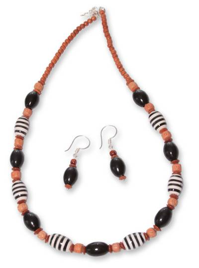 Unique Ceramic Beaded Earrings and Necklace Jewelry Set