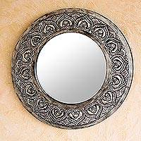 Leather mirror, 'Silver Hearts' - Leather mirror