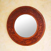 Leather mirror, 'Nature's Bounty' - Leather mirror