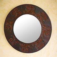 Leather mirror, 'Choclo Flowers' - Leather mirror