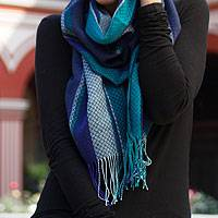 Alpaca and silk scarf, 'Lima Turquoise' - Alpaca and silk scarf